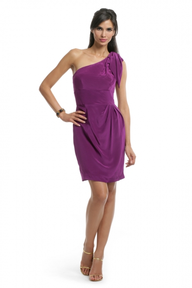 Purple Bow Shoulder dress