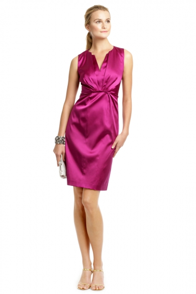 Raspberry Satin Twist Dress