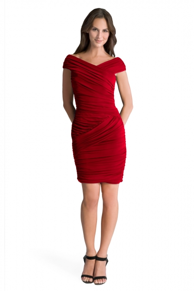Red Butterfly Ruched Dress
