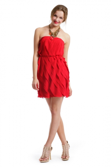 Red Ripple Effect Dress