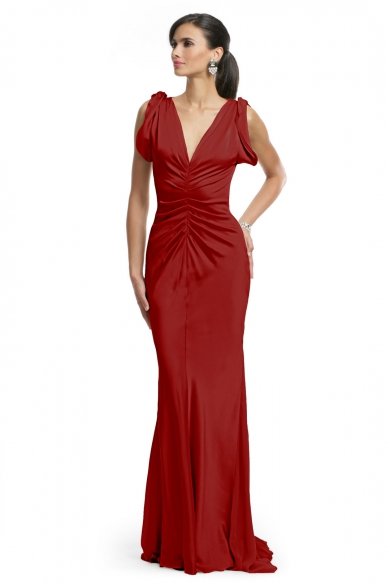 Red Ruched Glamour Gown