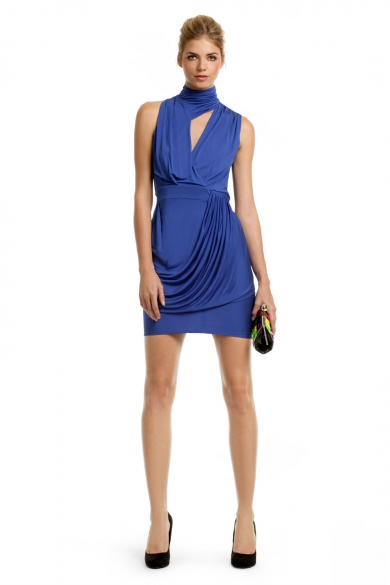 Royal Keyhole Draped Dress