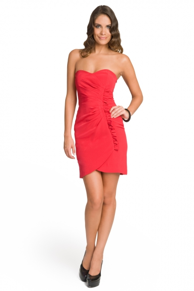 Ruched Ruffle Sweetheart Dress