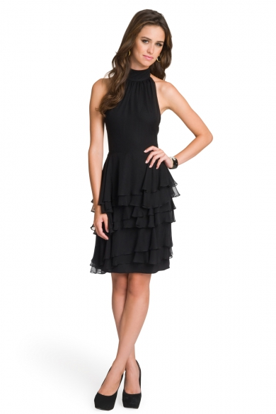 Ruffled Sophisticate Halter Dress