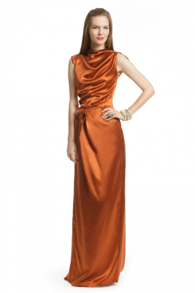 Rust Draped Gown