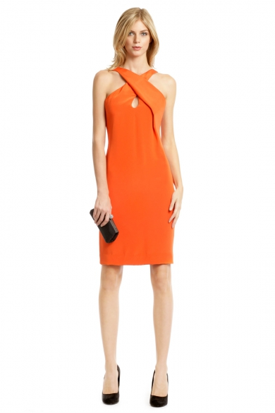 Tangerine Cross Halter Dress
