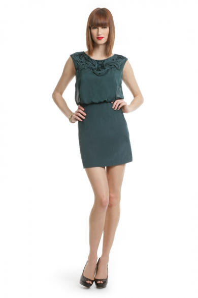 Teal Applique Bloussant Dress