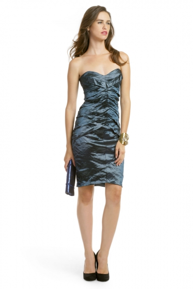 Teal Metallic Pintuck Dress