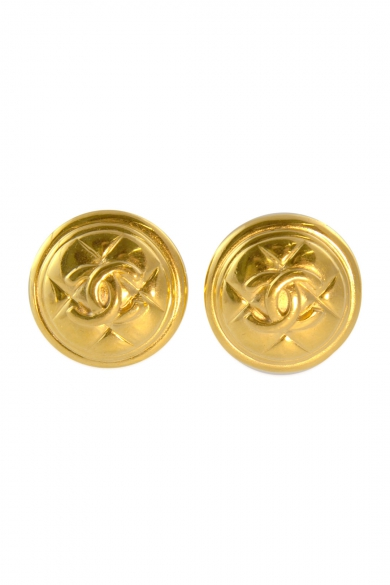 Vintage Chanel Quilted Shield Earrings