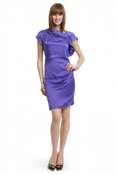 Violet Silk Draped Dress