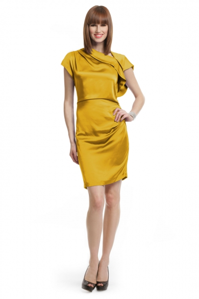 Yellow Silk Draped Dress