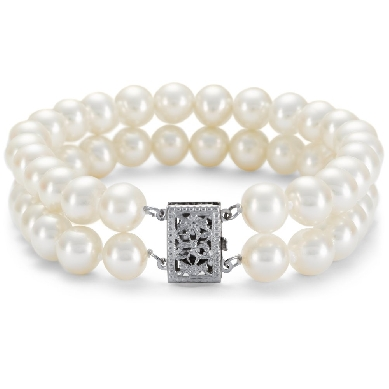 Double-Strand Freshwater Cultured Pearl Bracelet with 14k White Gold (7-7.5 mm)
