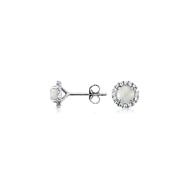 Opal and Micropave Diamond Earrings in 18k White Gold (5mm)