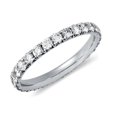 French Pave Diamond Eternity Ring in Platinum (1 ct. tw.)