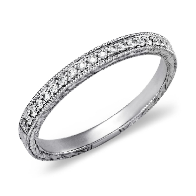 Engraved Micropave Diamond Ring in Platinum (1/5 ct. tw.)