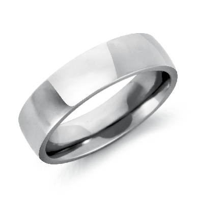 Comfort Fit Low Dome Wedding Ring in 14k White Gold (6mm)