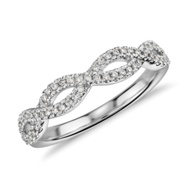 Infinity Twist Micropave Diamond Wedding Ring in 14k White Gold (1/5 ct. tw.)