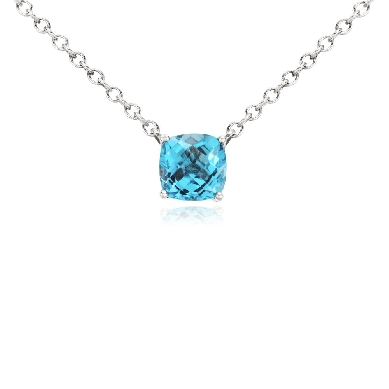 Swiss Blue Topaz Pendant in Sterling Silver (8mm)