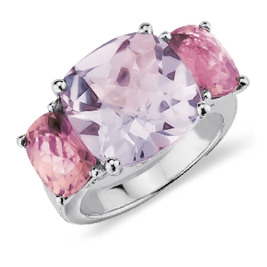 Lavender Amethyst and Pink Tourmaline Ring in 14k White Gold