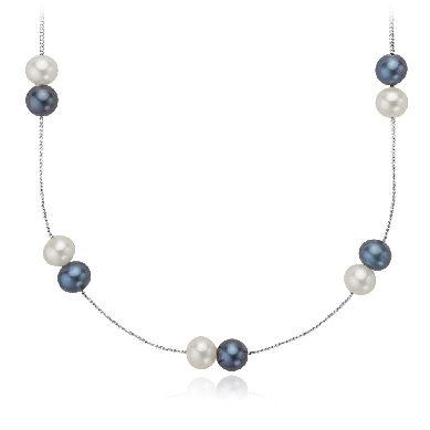 "Black and White Freshwater Pearl Necklace with Sterling Silver - 24"" Long"