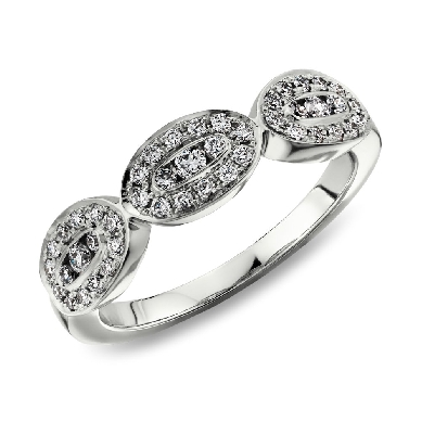 Halo Trio Pave Diamond Ring in 14k White Gold (1/3 ct. tw.)