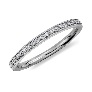 Heirloom Petite Pave Diamond Ring in Platinum