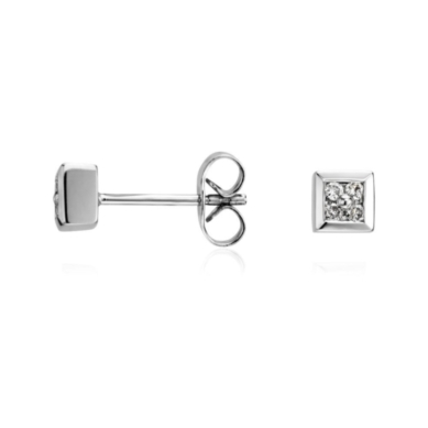 Square Diamond Earrings in 14k White Gold