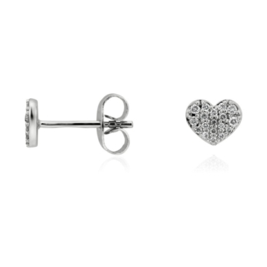 Mini Diamond Heart Earrings in 14k White Gold