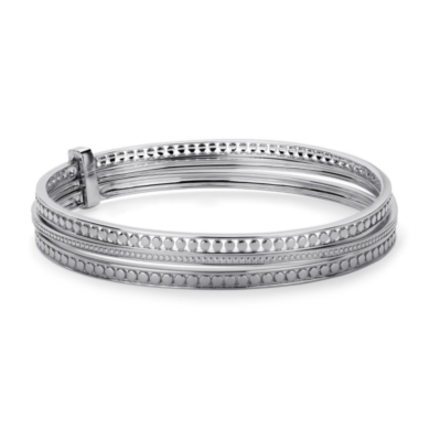 Dotted Trio Bangle in Sterling Silver