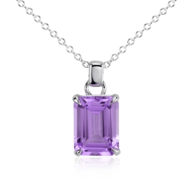 Amethyst Rectangular Pendant in Sterling Silver