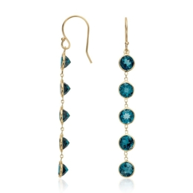 London Blue Topaz Bezel-Set Dangle Earrings in 14k Yellow Gold