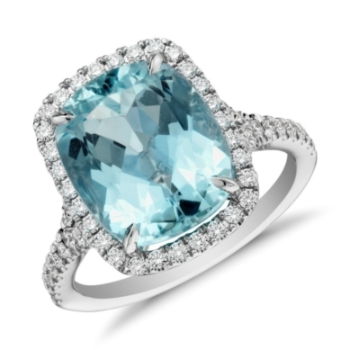 Aquamarine and Micropave Diamond Halo Ring in 18k White Gold (4.48 ct)