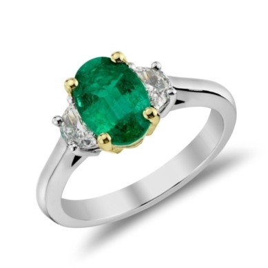 Emerald and Half-Moon Diamond Ring in 18k White Gold