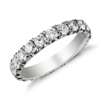 French Pave Eternity Diamond Ring in Platinum (2 ct. tw.)