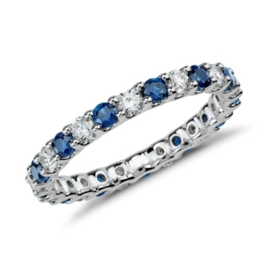 U-Prong Eternity Sapphire and Diamond Ring in 14k White Gold