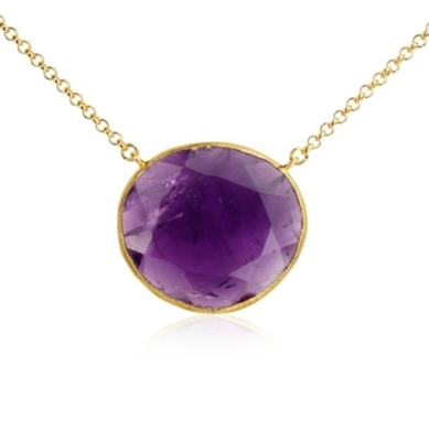 Amethyst Necklace in 18k Yellow Gold Vermeil