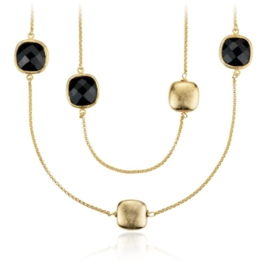 Black Spinel Necklace in Gold Vermeil