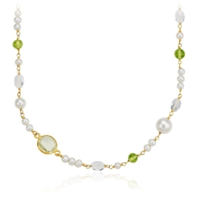 Freshwater Cultured Pearl, Green Quartz, and White Quartz Necklace in Vermeil
