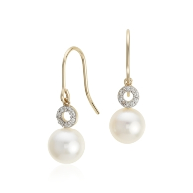 Freshwater Cultured Pearl and Diamond Circle Drop Earrings in 14k Yellow Gold