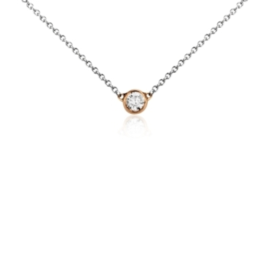 Mini Bezel-Set Diamond Necklace in 14k White and Rose Gold (1/5 ct. tw.)