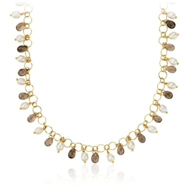 Pearl and Smoky Quartz Gold Plated Necklace
