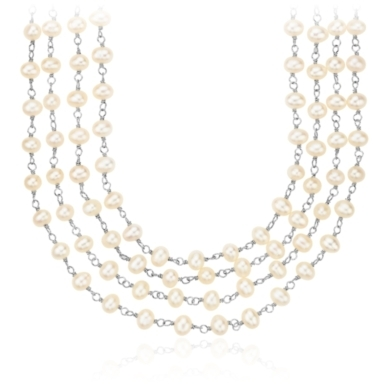 Rosary-Style Freshwater Cultured Pearl Necklace in Sterling Silver