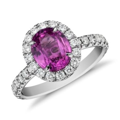 Pink Sapphire and Micropave Diamond Halo Ring in 18k White Gold
