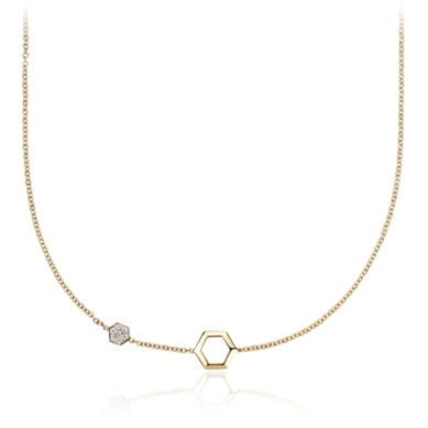 Diamond Hexagon Necklace in 14k Yellow Gold