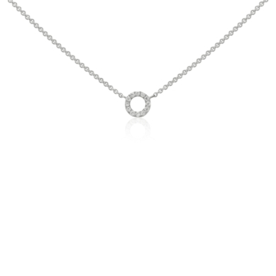 Mini Circle Diamond Necklace in 14k White Gold