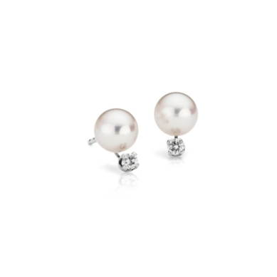 Premier Akoya Cultured Pearl Earrings in 18k White Gold (6-6.5mm)