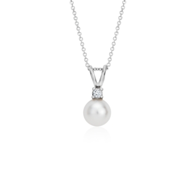 Freshwater Cultured Pearl and Diamond Pendant in 14k White Gold (7-7.5mm)