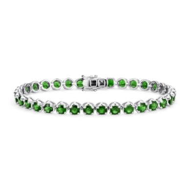 Chrome Diopside Bracelet in Sterling Silver (4mm)