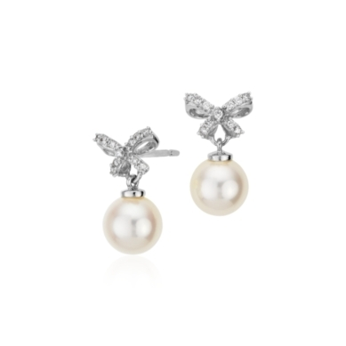 Freshwater Cultured Pearl and Diamond Bow Earrings in 18k White Gold (7-7.5mm)
