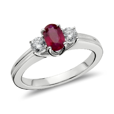 Ruby and Diamond Ring in 18k White Gold (6x4mm)
